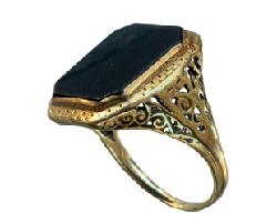 Erie Basin - 1920s Onyx Signet Ring, 10K Gold Filigree : Erie Basin Antiques