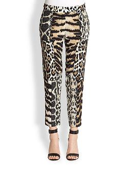 Roberto Cavalli  - Animal-Print Patchwork Silk Pants