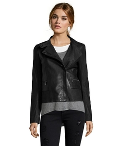 Vince - Lambskin Asymmetrical Zip Mixed Media Moto Jacket