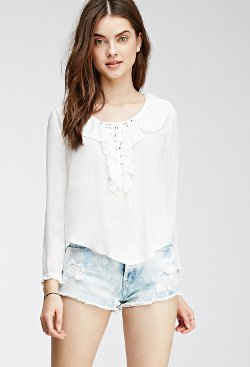 Forever21 - Ruffled Lace Up Blouse
