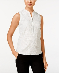 Calvin Klein - Zip-Front Mixed-Media Top
