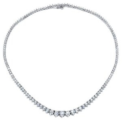 DeBebians  - White Gold Graduated Diamond Necklace