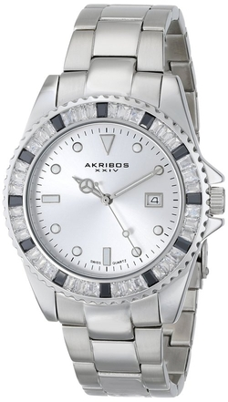Akribos Xxiv - Crystal Stainless Steel Bracelet Watch