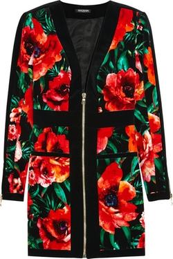 Balmain  - Floral Print Velvet Mini Dress