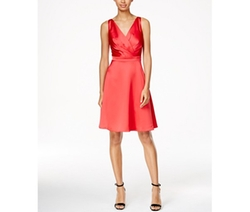 Calvin Klein  - Sleeveless Satin Surplice-Neck Dress