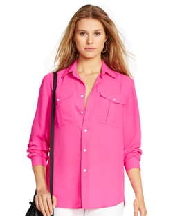 Ralph Lauren - Crepe Long Sleeve Shirt