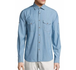 Saks Fifth Avenue Collection - Chambray Cotton Shirt