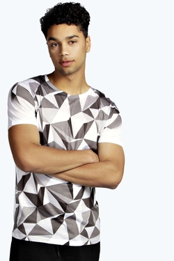 Boohooman - Tonal Geo Sublimation T Shirt