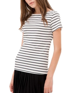MFrannie - Short Sleeve Boat Neck Stripe T-Shirt
