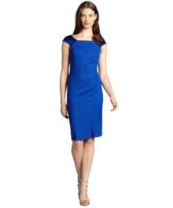 Magaschoni  - Ascot Double Face Wool Cap Sleeve Dress