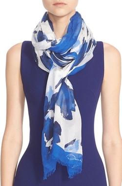 Oscar De La Renta - Floral Print Modal & SilkScarf