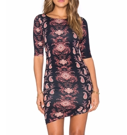 Gypsy 05 - Printed Shirred Lace Mini Dress
