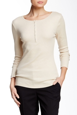 Two By Vince Camuto - Long Sleeve Ribbed Henley Tee