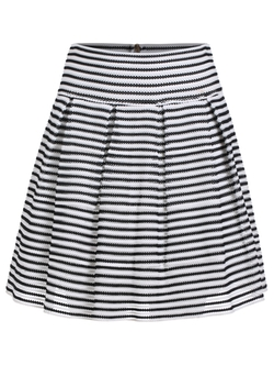 Romwe - Striped Zipper A-Line Skirt