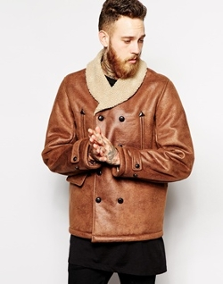 Asos - Faux Leather Shearling Jacket
