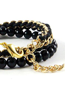 Domo Beads - 50/50 Chain Wrap Bracelet | Black Onyx