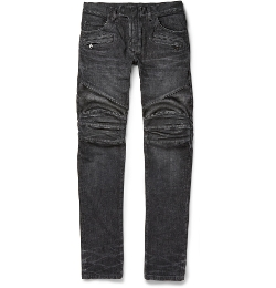 Balmain - Regular-Fit Washed-Denim Biker Jeans
