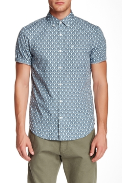 Original Penguin  - Heritage Slim Fit Short Sleeve Print Poplin Shirt