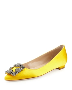 Manolo Blahnik - Hangisi Crystal-Buckle Satin Flat Shoes
