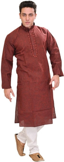 Exotic India - Woven Checks and Embroidery Kurta