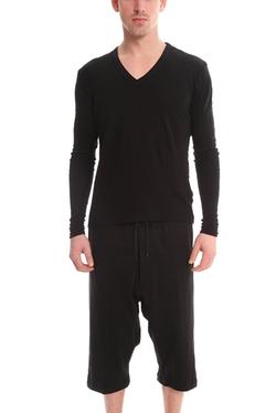 V::Room - Long Sleeve Double Gauze V-Neck T-Shirt
