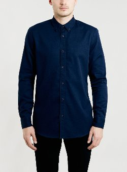 Topman - Washed Navy Twill Long Sleeve Shirt