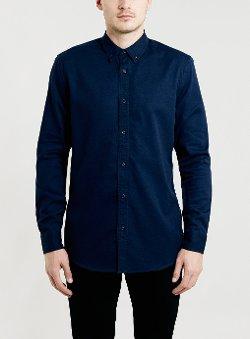 Topman - Washed Navy Twill Long Sleeve Shirt