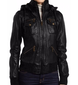 The Leather Factory - Lambskin Detachable Hooded Leather Jacket