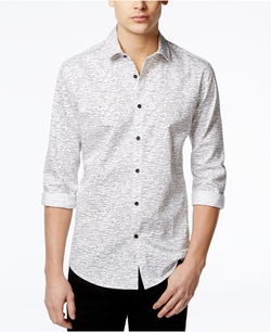 Alfani - Dash-Print Long-Sleeve Shirt