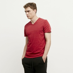Kenneth Cole New York   - Stripe V-Neck Tee Shirt