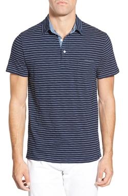 Faherty  - Jersey Beach Trim Fit Stripe Polo Shirt