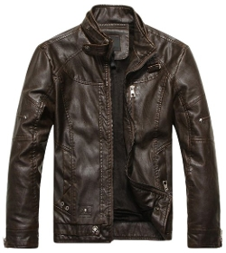 Chouyatou - Vintage Stand Collar Pu Leather Jacket