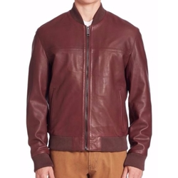 Saks Fifth Avenue Collection  - Modern Zip-Front Leather Bomber Jacket