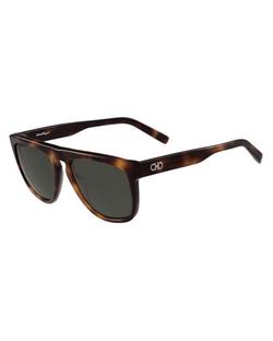 Salvatore Ferragamo  - Gancini Flat-Top Round Sunglasses