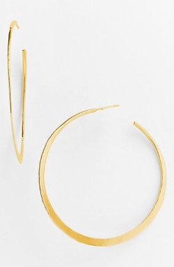 Argento Vivo  - Hammered Crescent Large Hoop Earrings