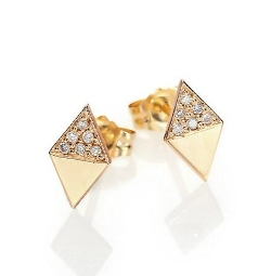 Zoe Chicco - Yellow Gold Double Triangle Stud Earrings