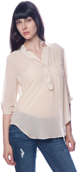 Lucky 21 - Collarless Chiffon Top