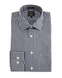 Neiman Marcus  - Trim-Fit Regular-Finish Check Dress Shirt