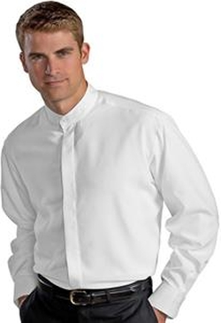 Edwards Garment - Mens Batiste Banded Collar Shirt