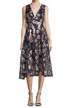 Lela Rose - Sleeveless Floral-Print Midi Dress