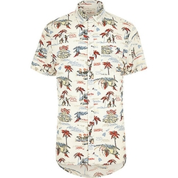 River Island - Ecru Hawaiian Print Short Sleeve Shirt