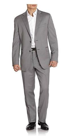 Saks Fifth Avenue BLACK  - Herringbone Slim-Fit Wool & Silk Suit