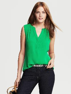 Banana Republic - Green Shirred Sleeveless Top Emerald