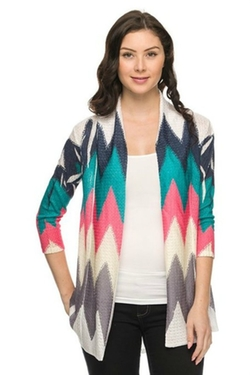 The Texas Cowgirl - Turquoise Navy Chevron Zig Zag Cardigan