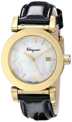 Salvatore Ferragamo - Diamond-Accented Gold Leather Watch