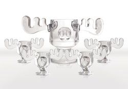 Christmas Vacation Collectibles - Glass Moose Punch Bowl and Mug Set