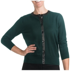 August Silk - Pleather Trim Cardigan Sweater