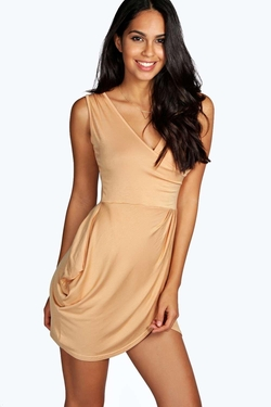 Boohoo Night  - Davina Wrap Over Detail Tulip Shape Dress