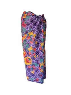 Jstyle94  - New Floral Skirt Wrap Cotton Women Purple Thai Batik Sarong