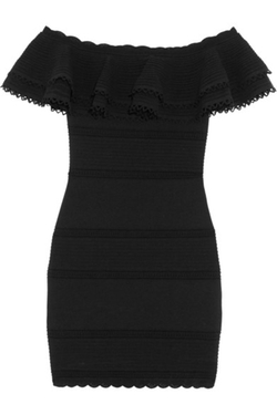 Alexander Mcqueen - Off-The-Shoulder Lace-Paneled Cotton-Blend Mini Dress
